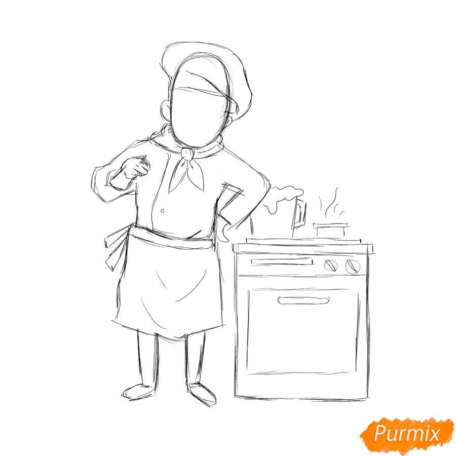 Рисуем повара на кухне - шаг 3