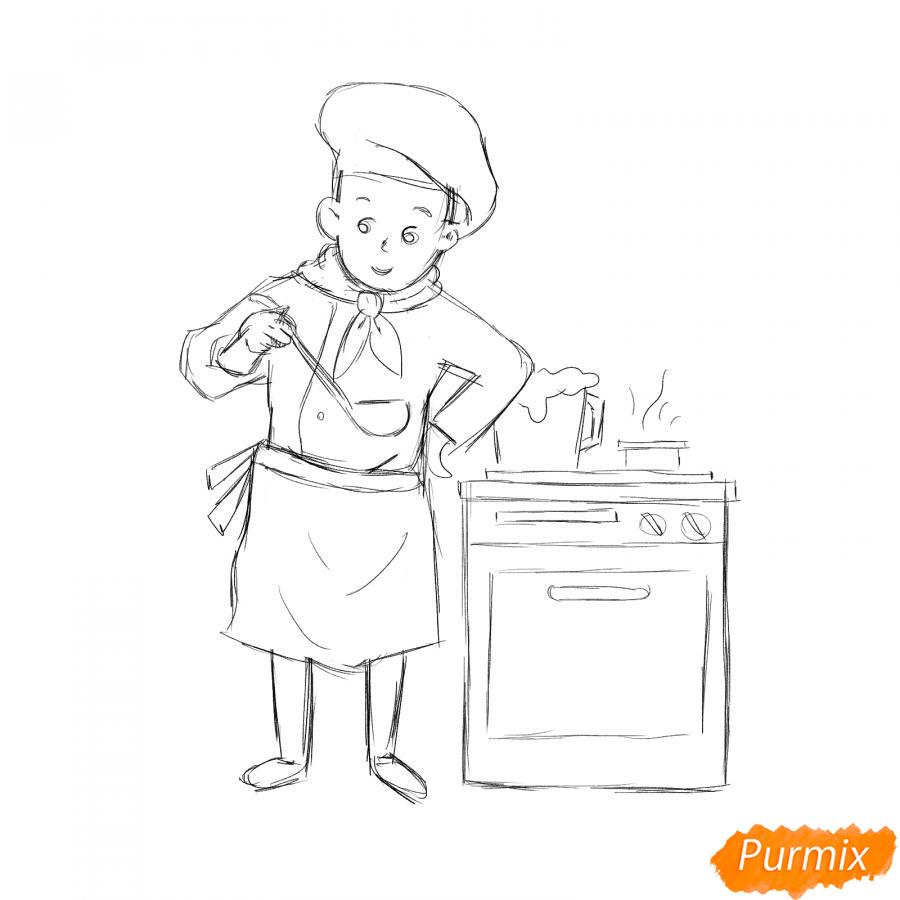 Рисуем повара на кухне - шаг 4