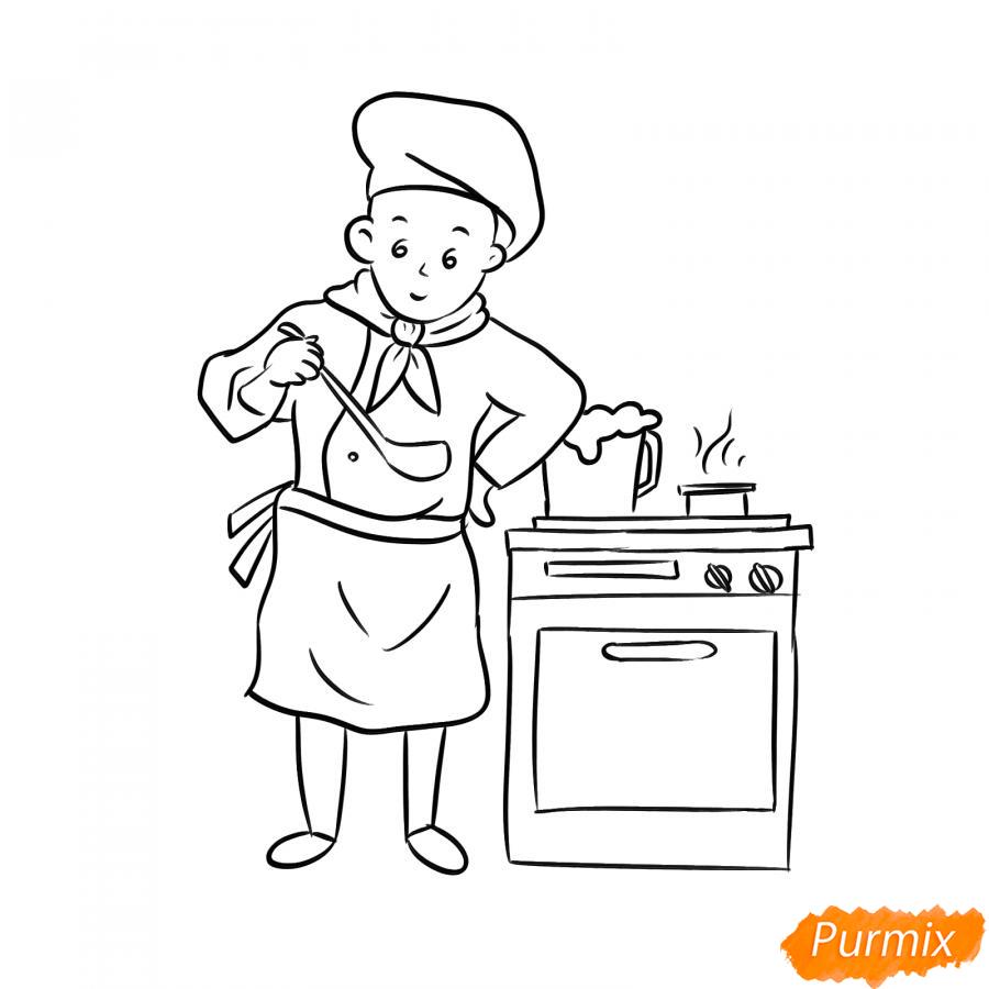 Рисуем повара на кухне - шаг 5