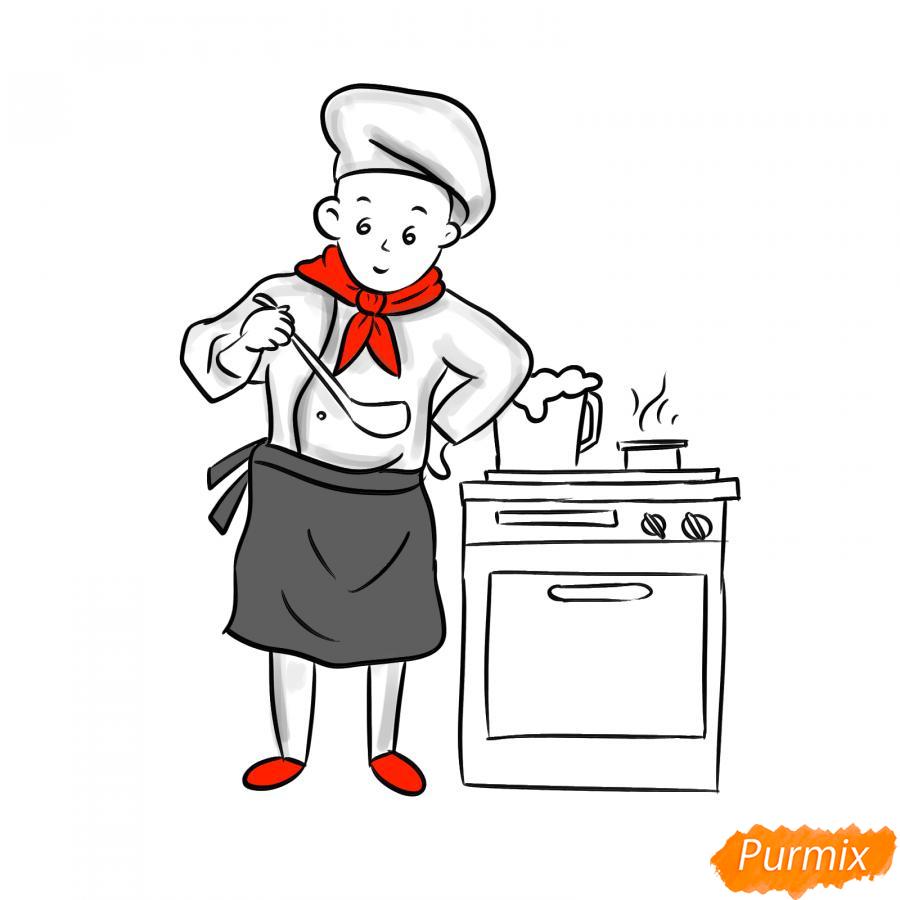 Рисуем повара на кухне - шаг 6
