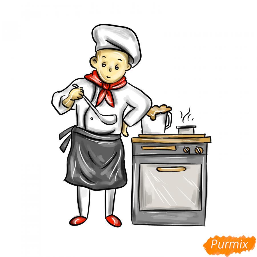 Рисуем повара на кухне - шаг 8