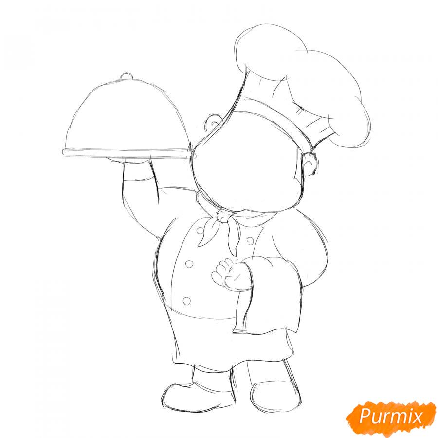 Рисуем повара - шаг 3