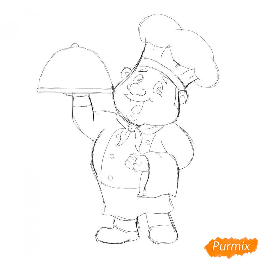 Рисуем повара - шаг 4