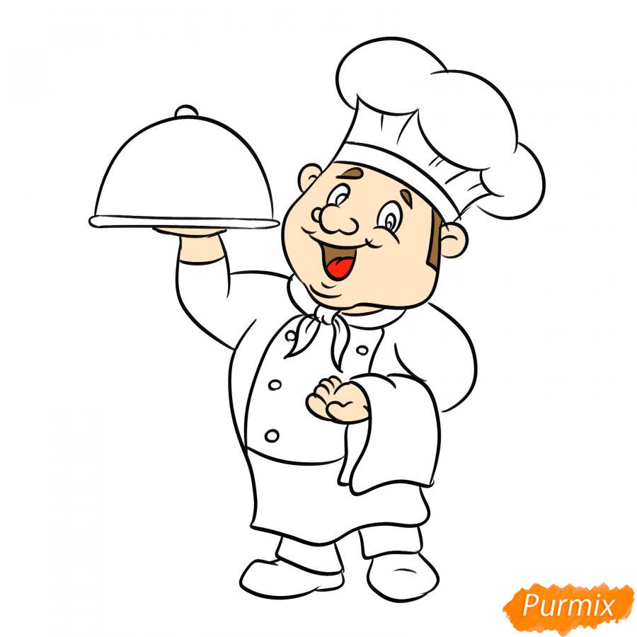 Рисуем повара - шаг 6