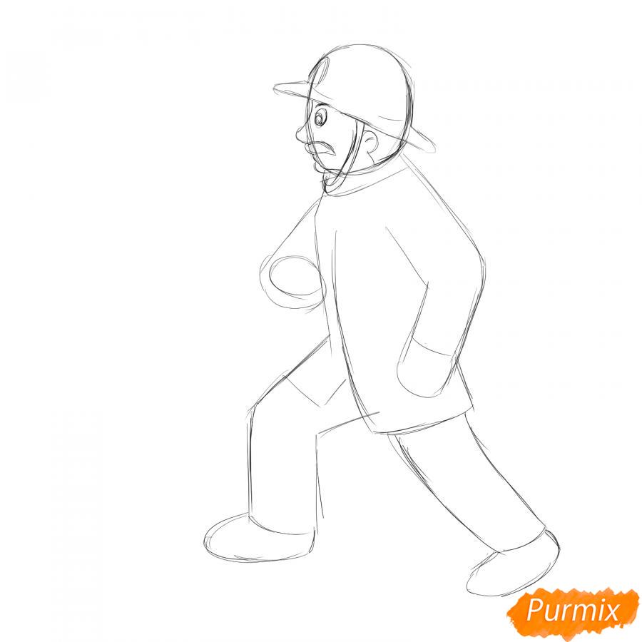 Рисуем пожарного который тушит огонь - шаг 2