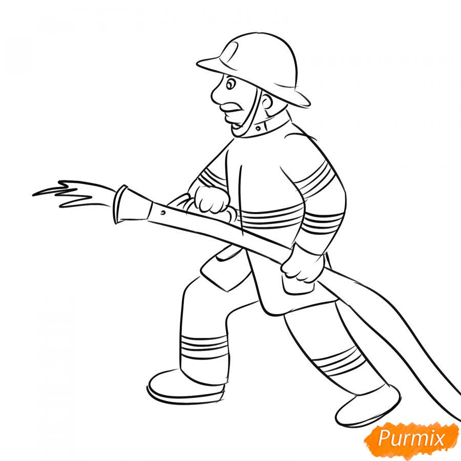 Рисуем пожарного который тушит огонь - шаг 4