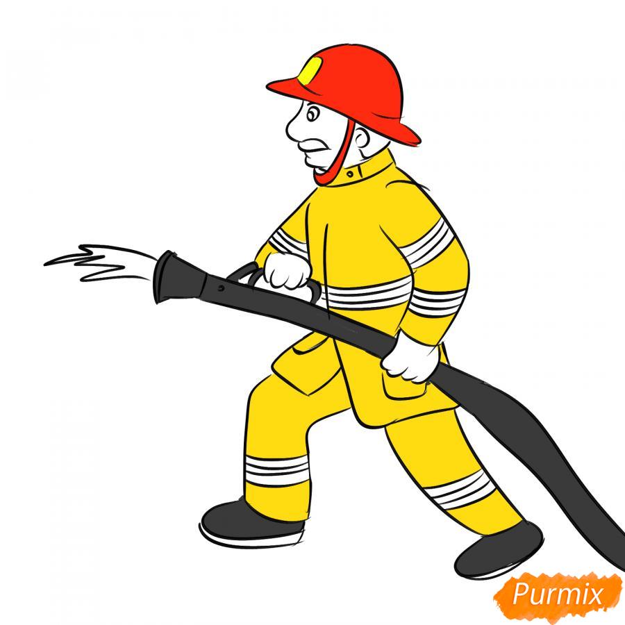 Рисуем пожарного который тушит огонь - шаг 6