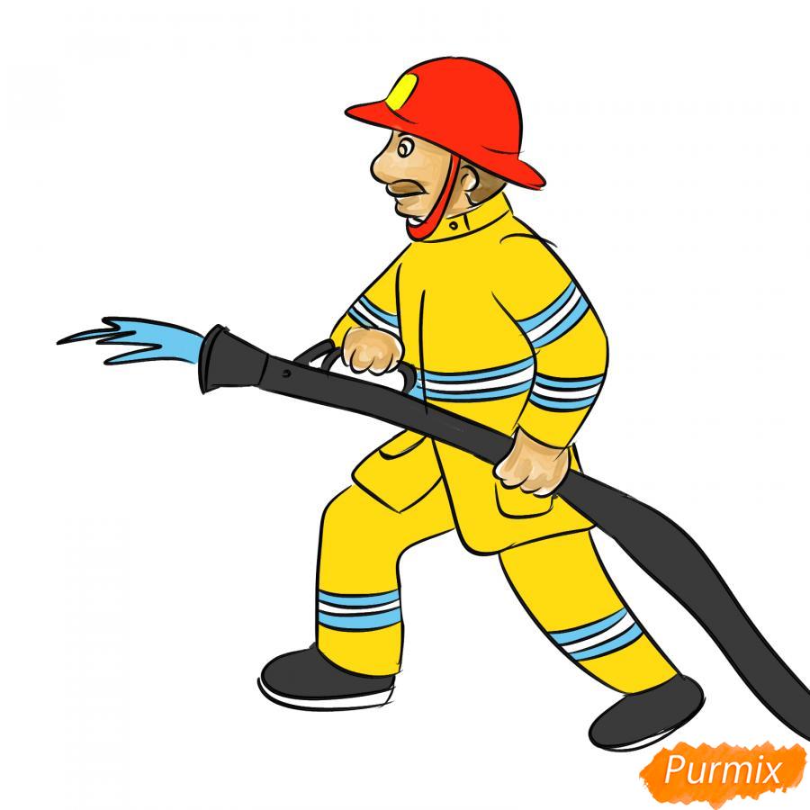 Рисуем пожарного который тушит огонь - шаг 8