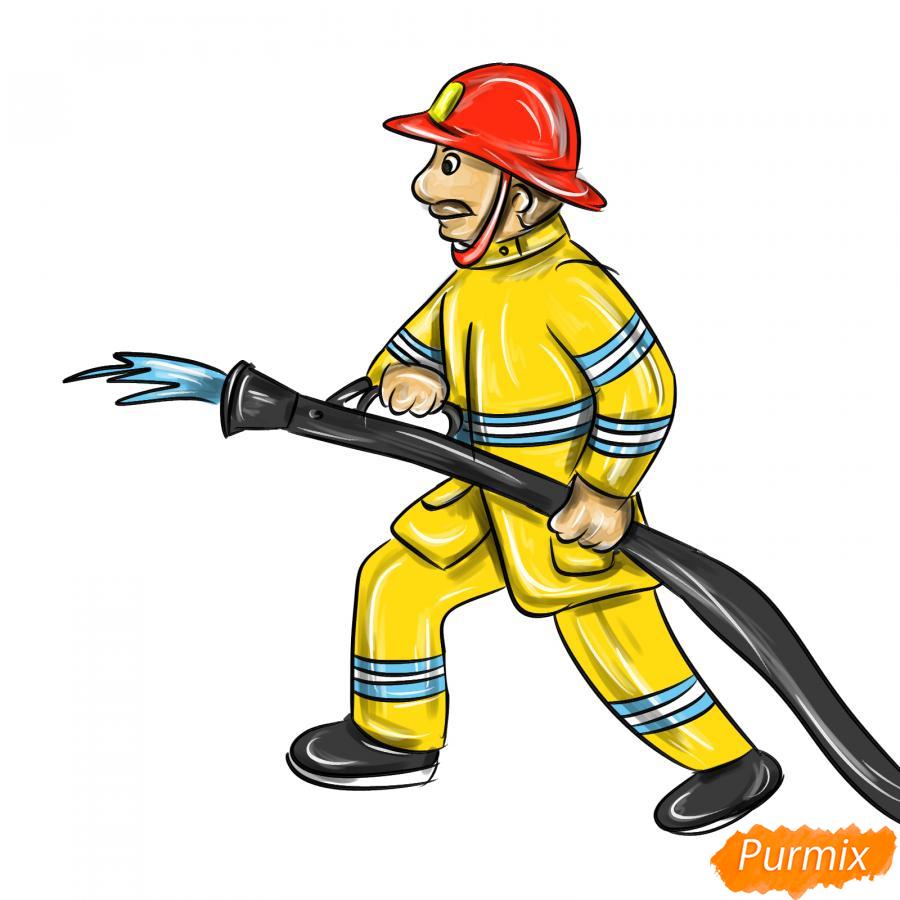 Рисуем пожарного который тушит огонь - шаг 9