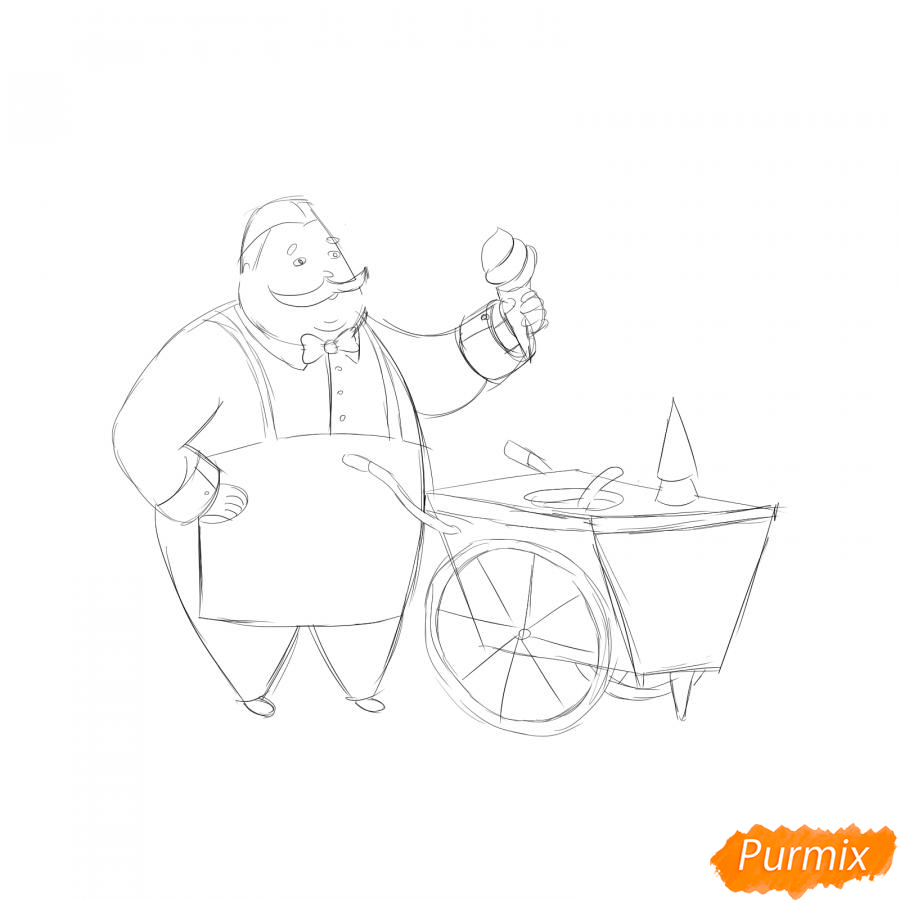 Рисуем продавца мороженого - шаг 4
