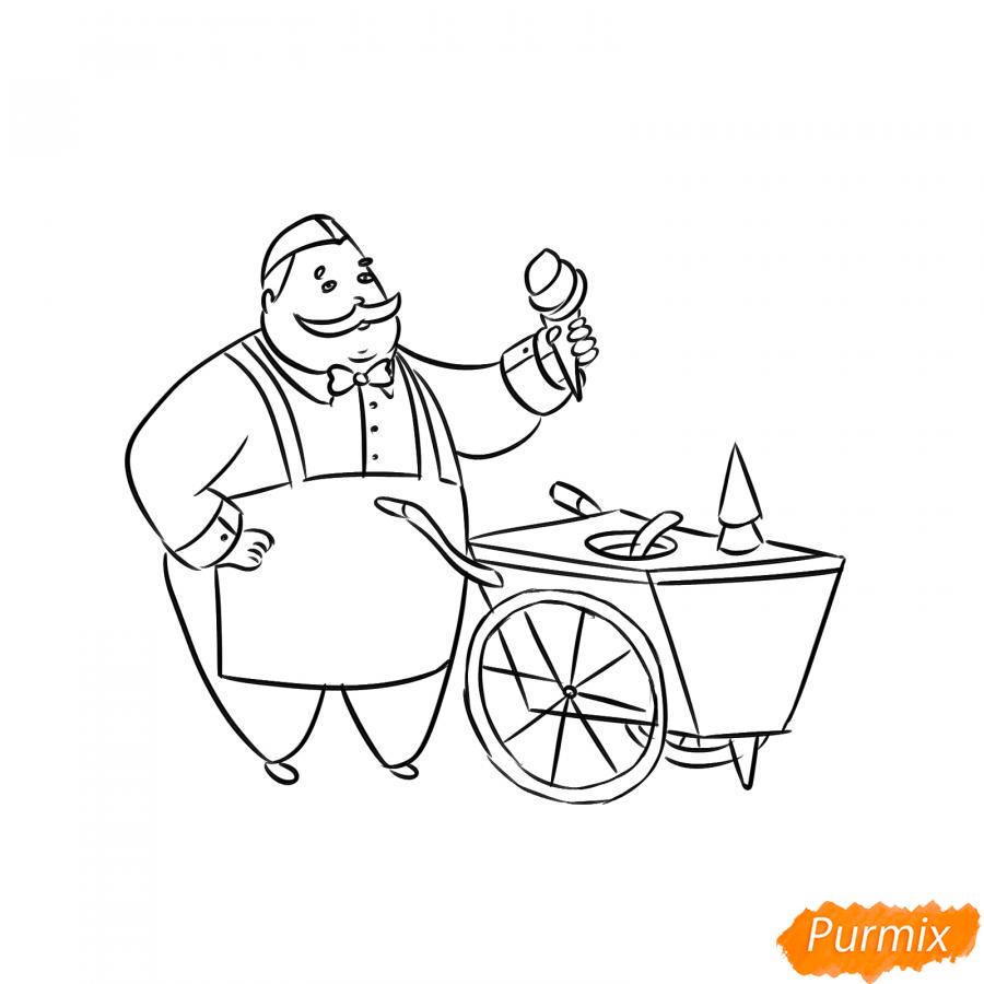 Рисуем продавца мороженого - шаг 5