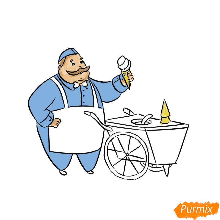 Рисуем продавца мороженого - шаг 7