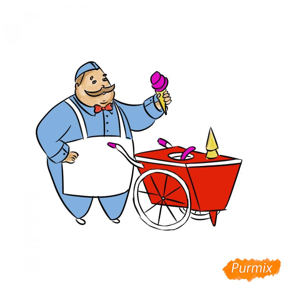 Рисуем продавца мороженого - шаг 8