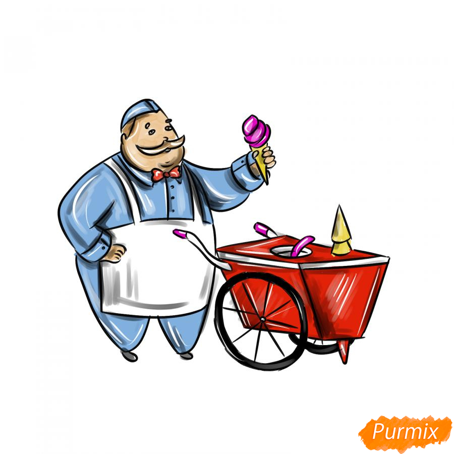 Рисуем продавца мороженого - шаг 9