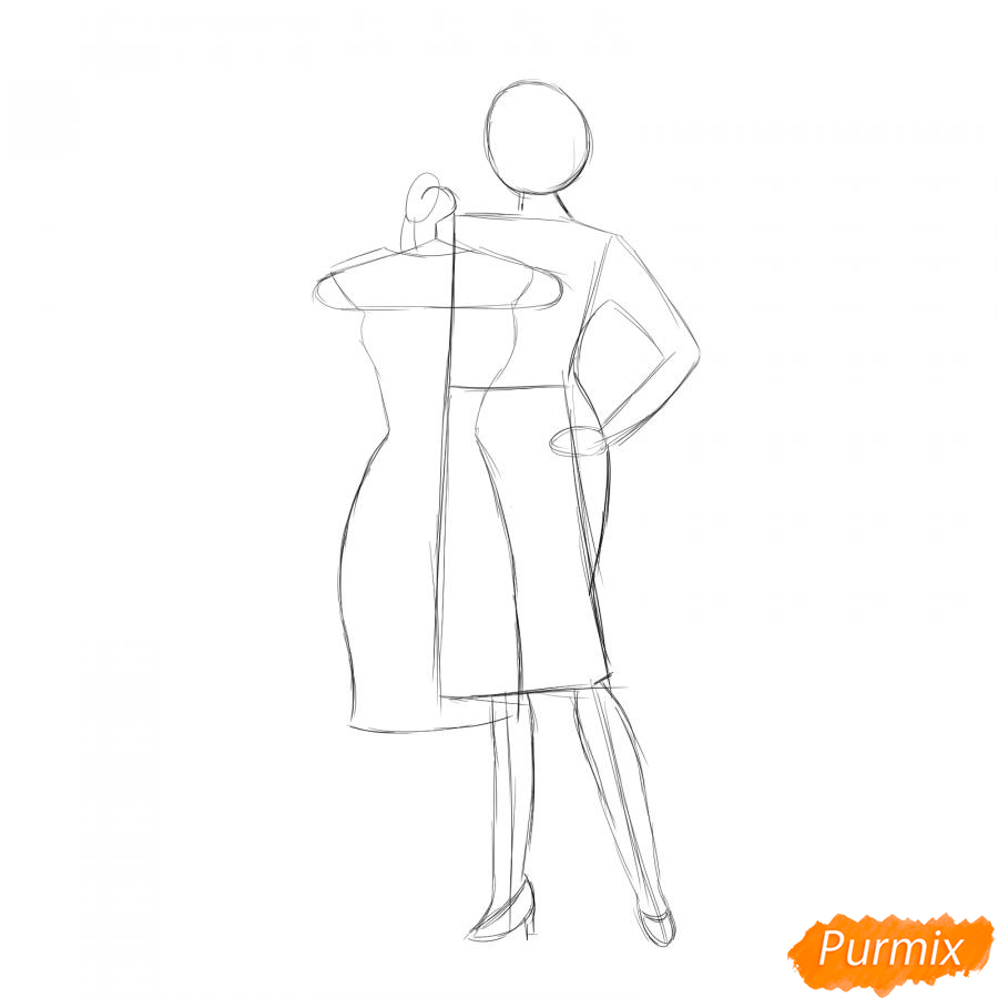 Рисуем продавца одежды - шаг 3