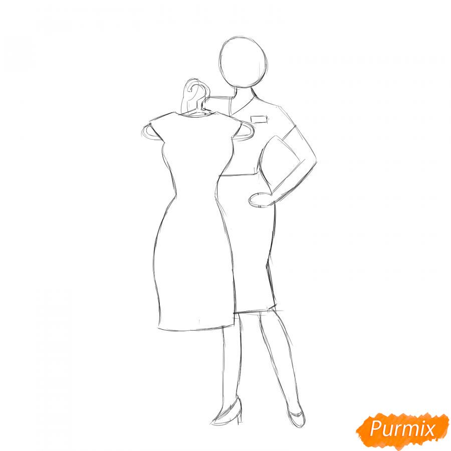 Рисуем продавца одежды - шаг 4