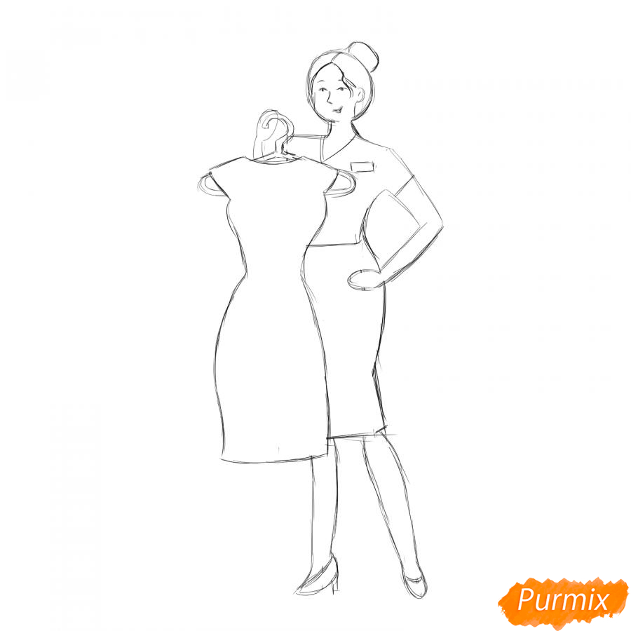 Рисуем продавца одежды - шаг 5