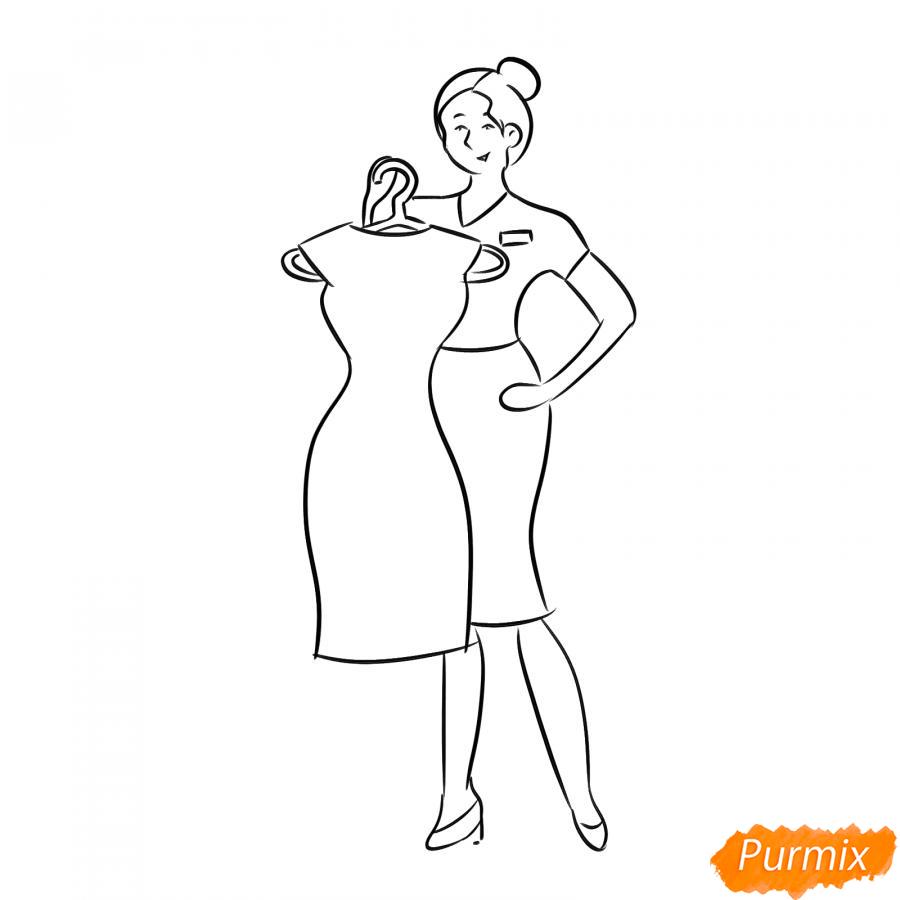 Рисуем продавца одежды - шаг 6