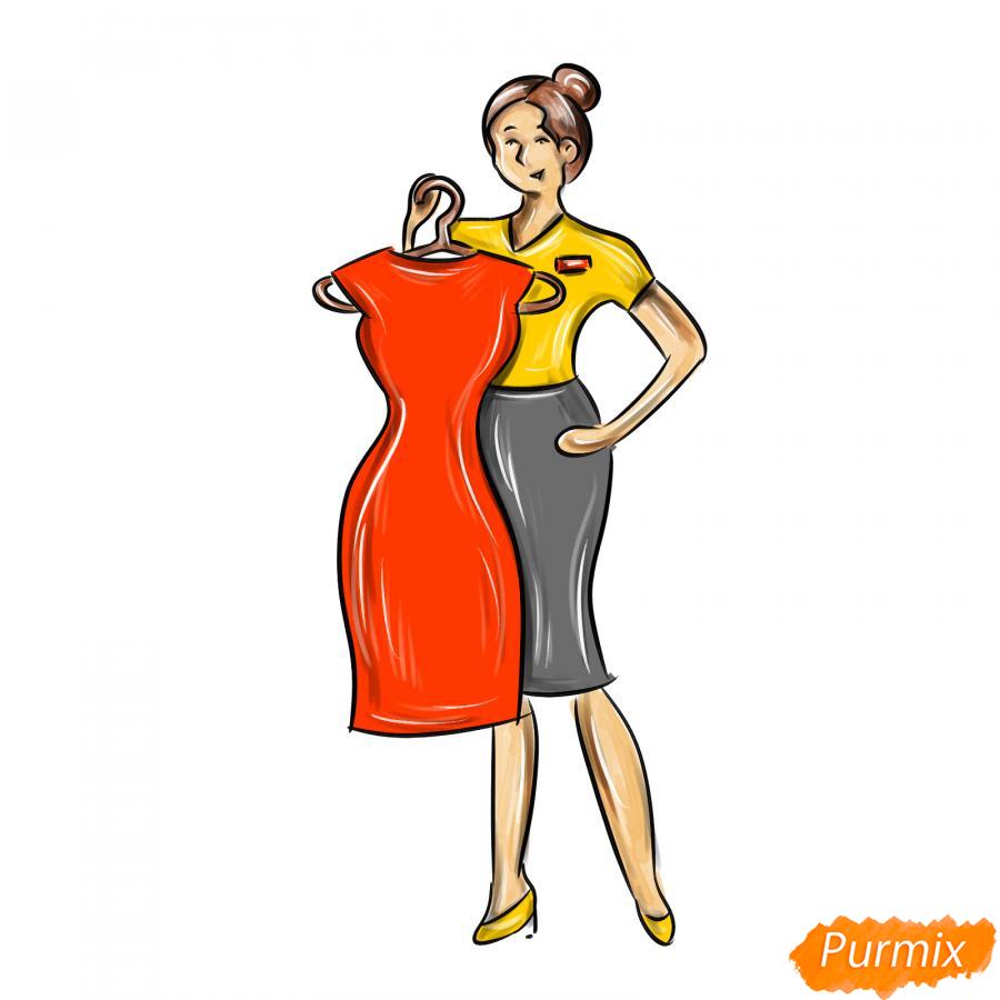 Рисуем продавца одежды - шаг 9