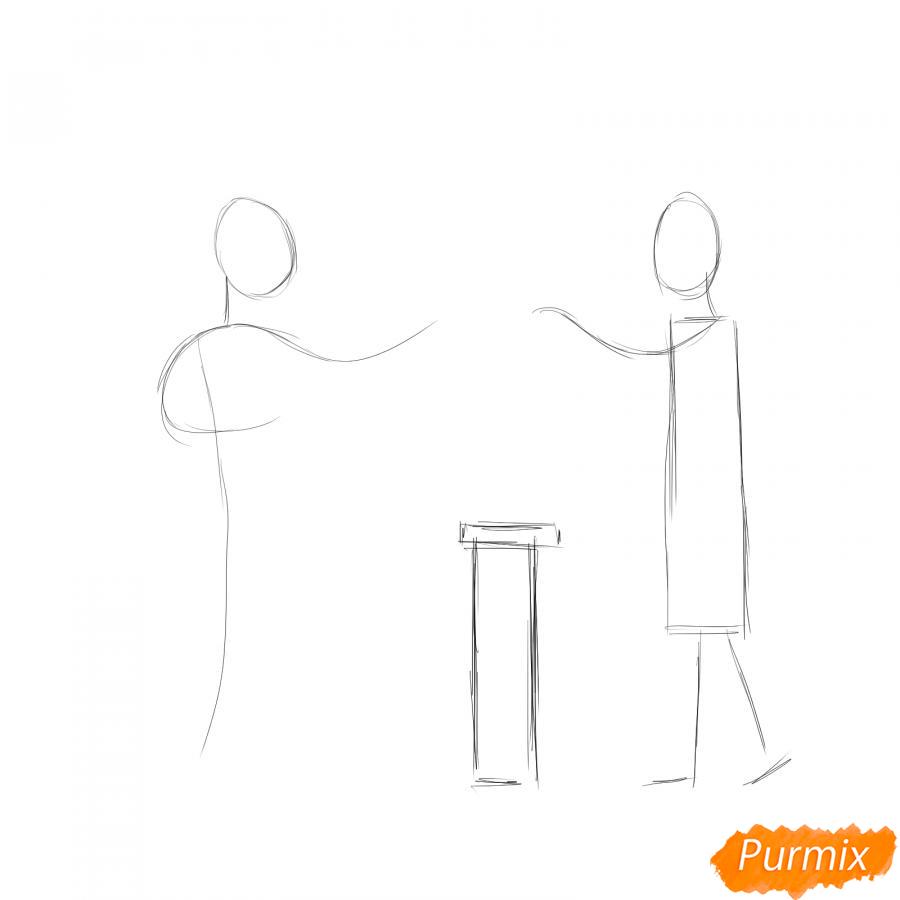 Рисуем продавца с покупателем - шаг 1