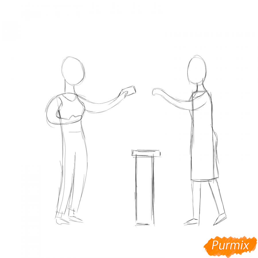 Рисуем продавца с покупателем - шаг 2
