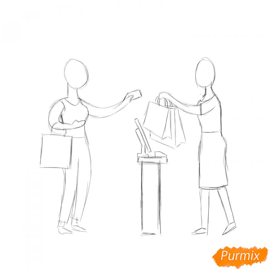 Рисуем продавца с покупателем - шаг 3