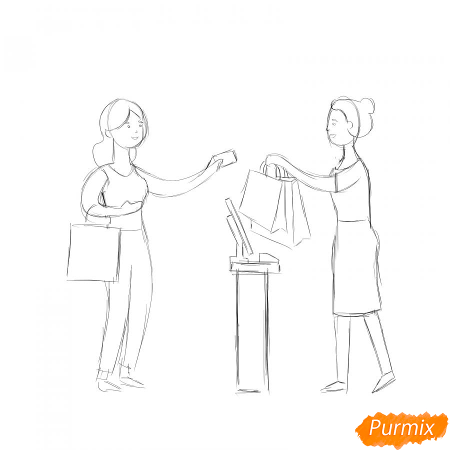 Рисуем продавца с покупателем - шаг 4