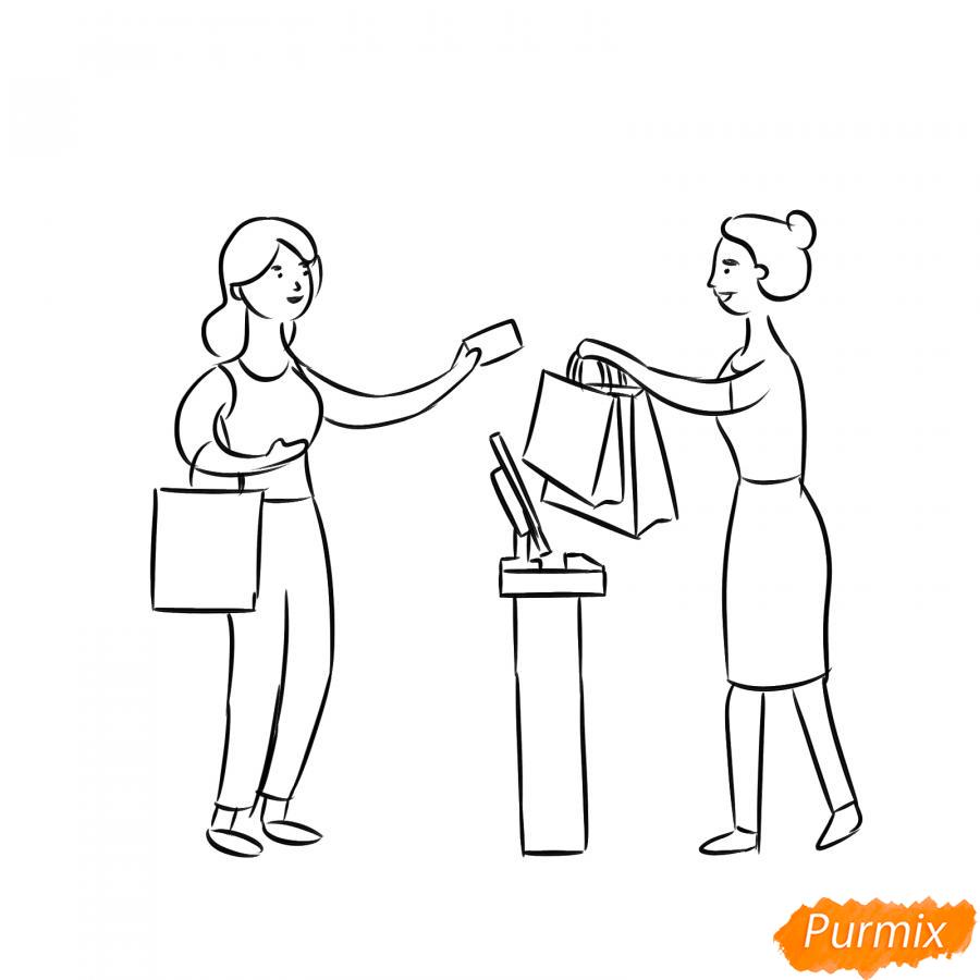 Рисуем продавца с покупателем - шаг 5