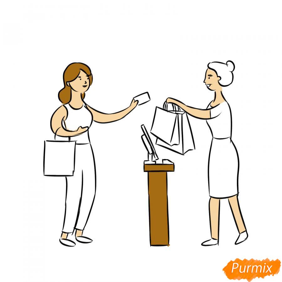 Рисуем продавца с покупателем - шаг 6