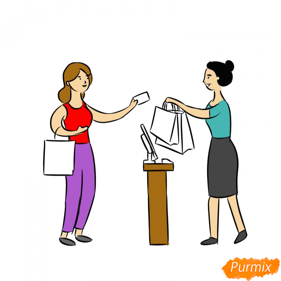 Рисуем продавца с покупателем - шаг 7