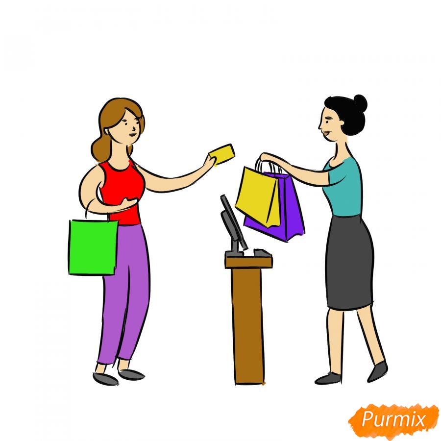 Рисуем продавца с покупателем - шаг 8