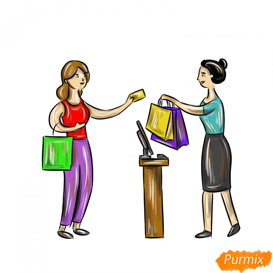 Рисуем продавца с покупателем - шаг 9
