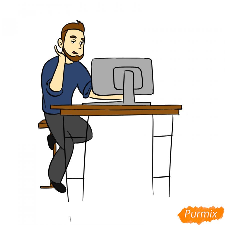 Рисуем программиста карандашами - шаг 8