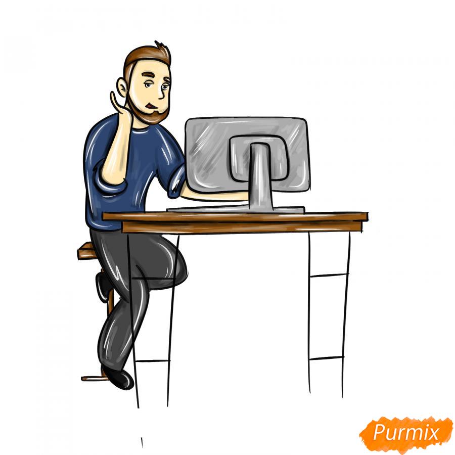 Рисуем программиста карандашами - шаг 9