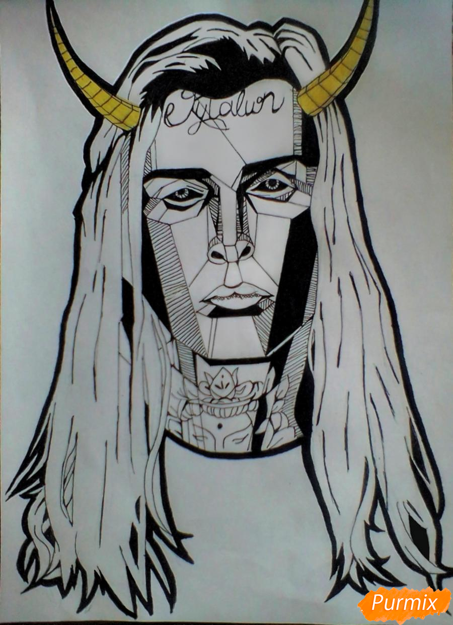 Как нарисовать репера Ghostemane карандашом поэтапно
