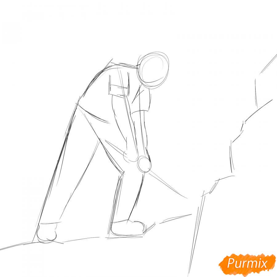 Рисуем шахтера за работой - шаг 2