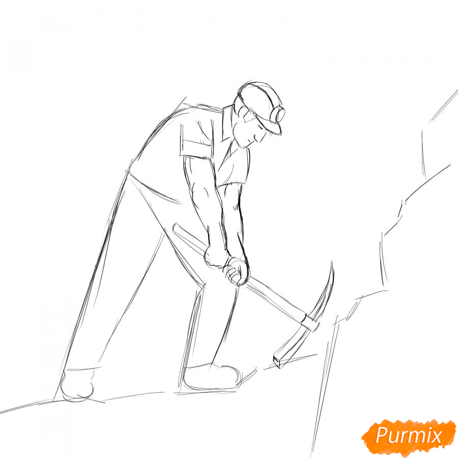 Рисуем шахтера за работой - шаг 4