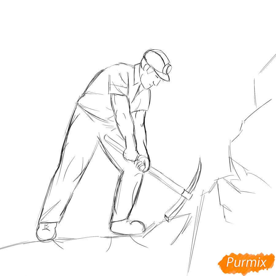 Рисуем шахтера за работой - шаг 5