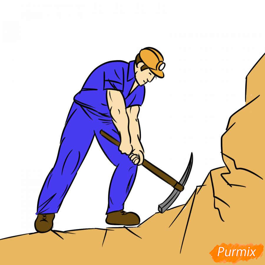 Рисуем шахтера за работой - шаг 8