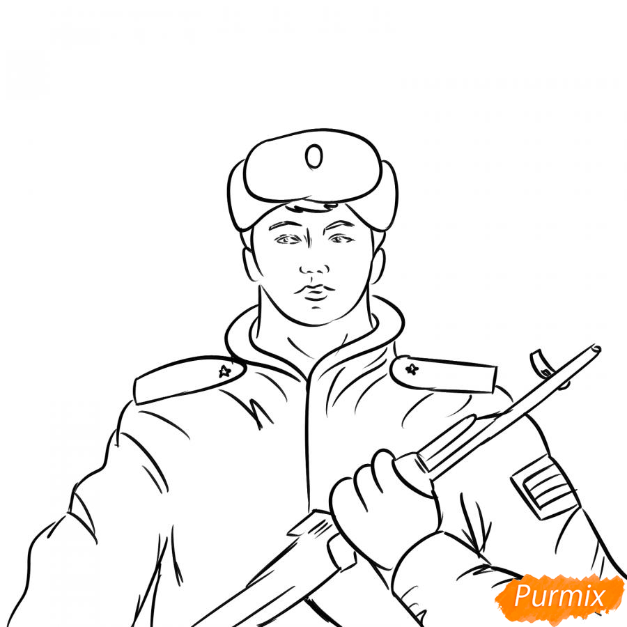 Рисуем солдата - шаг 6