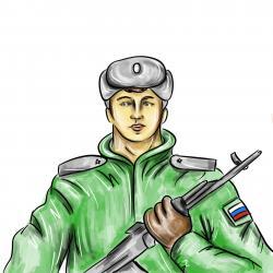 солдата карандашом