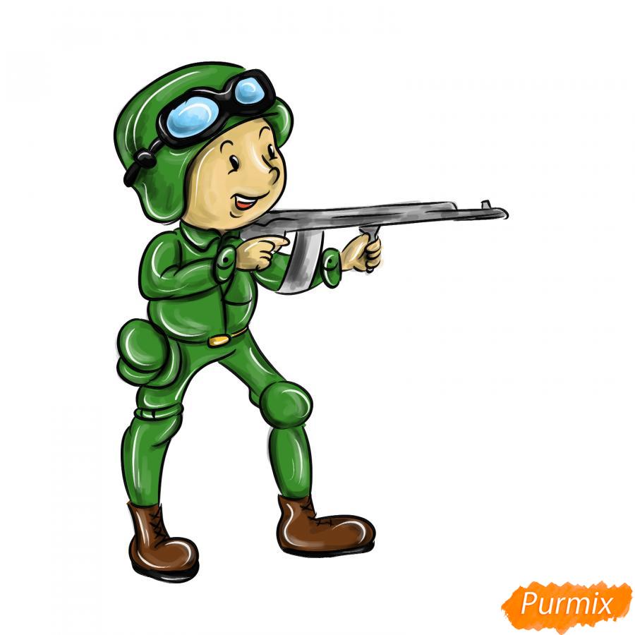 Рисуем солдата с автоматом - шаг 10