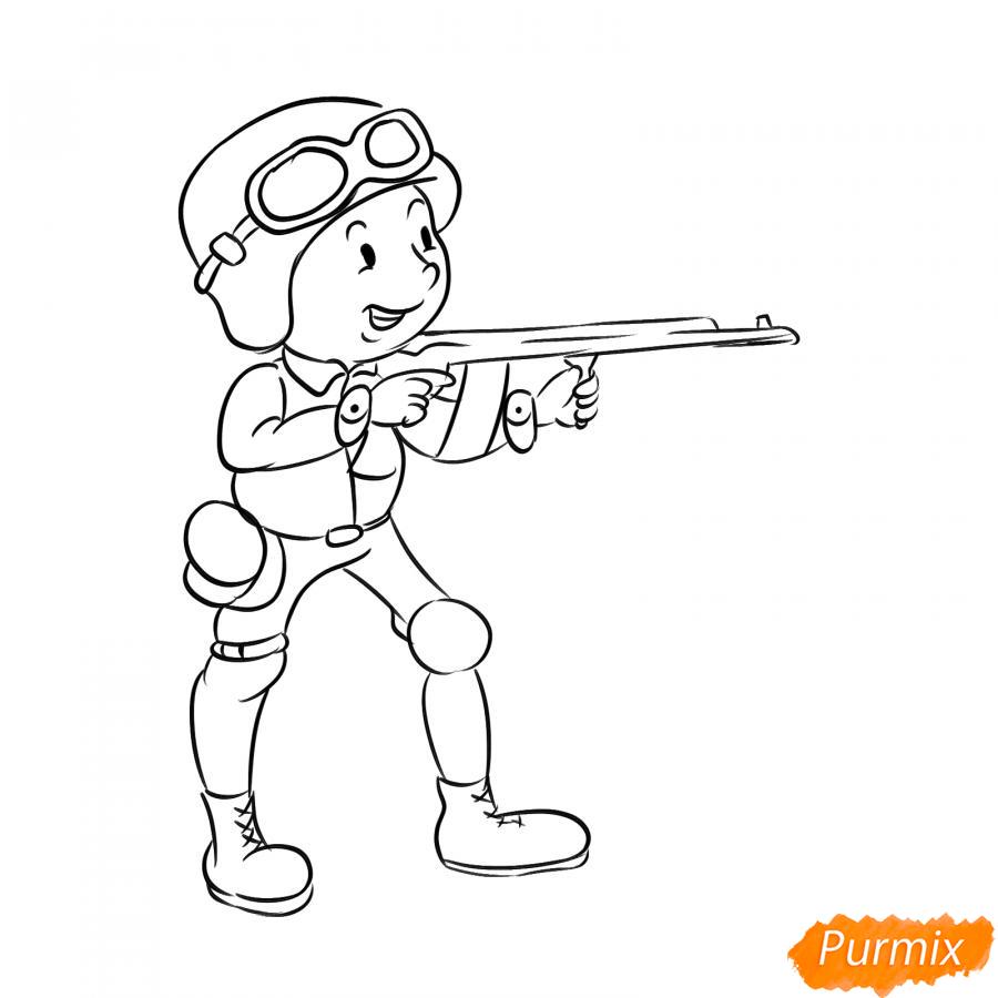 Рисуем солдата с автоматом - шаг 6