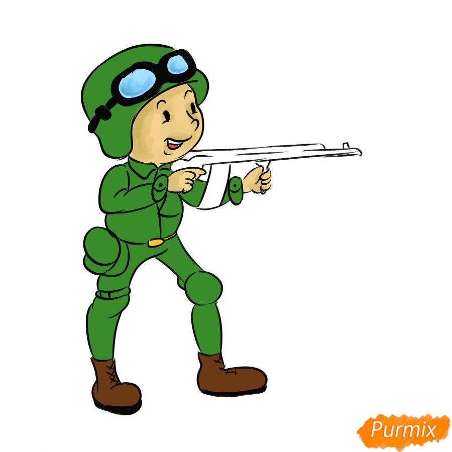 Рисуем солдата с автоматом - шаг 9