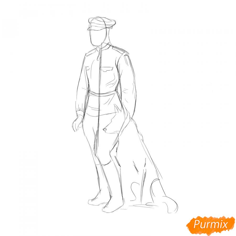 Рисуем солдата с собакой - шаг 3