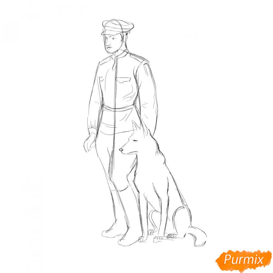 Рисуем солдата с собакой - шаг 4