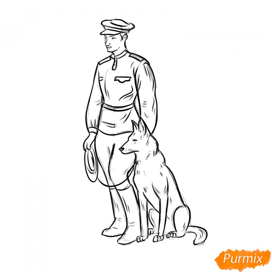 Рисуем солдата с собакой - шаг 5