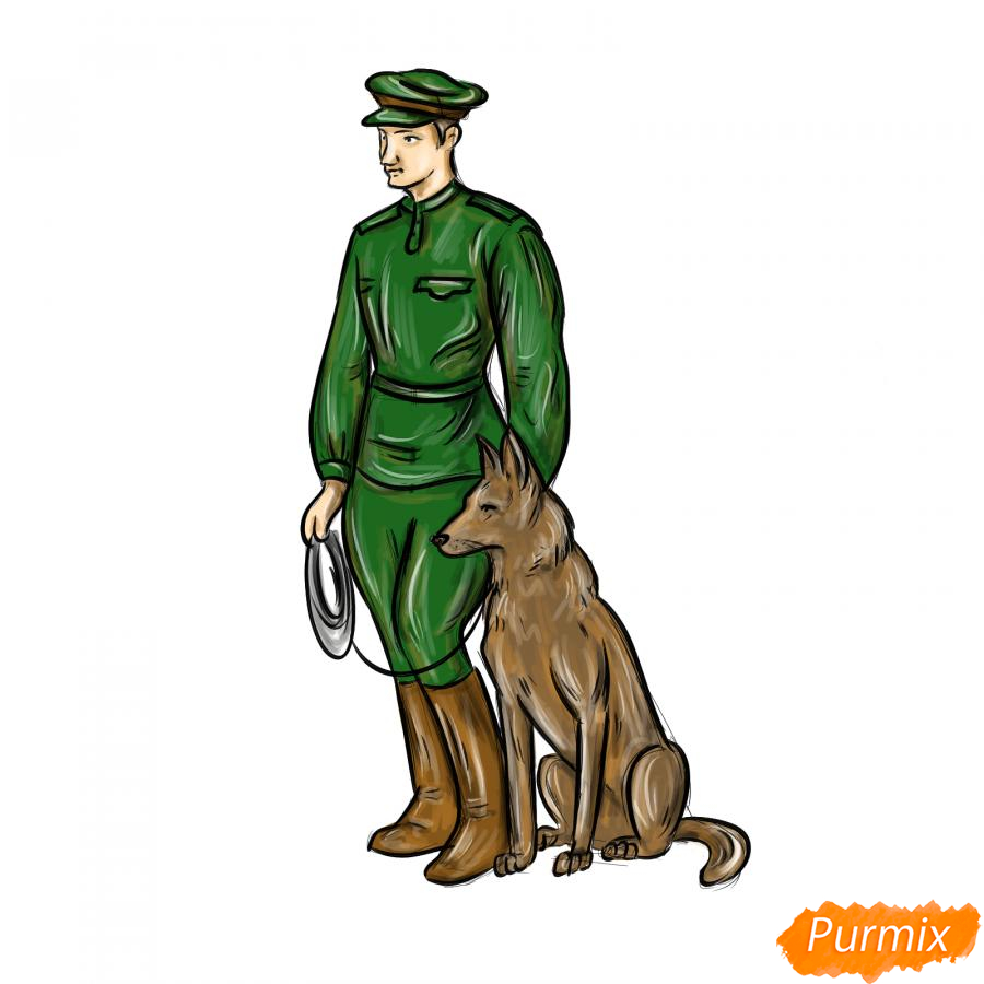 Рисуем солдата с собакой - шаг 9