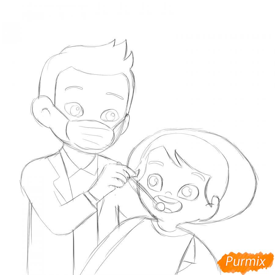 Рисуем стоматолога - шаг 4