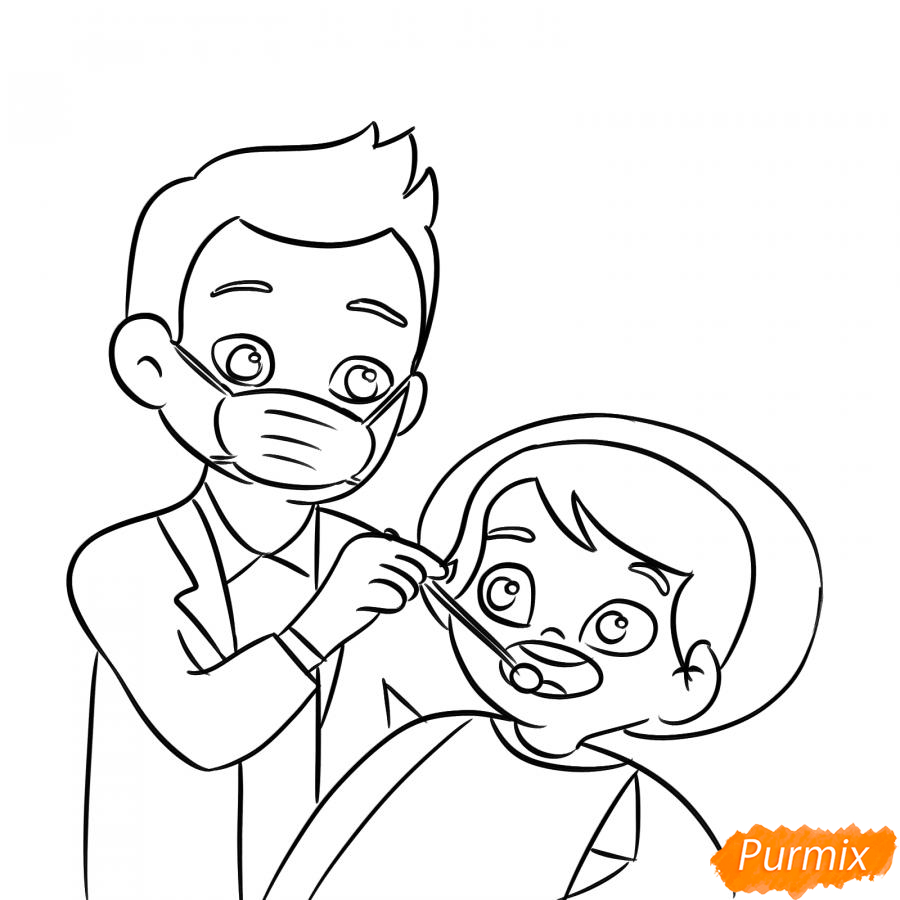 Рисуем стоматолога - шаг 5